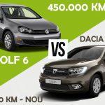 Dacia Logan cu 0 km sau VW Golf 6 cu 450.000 km